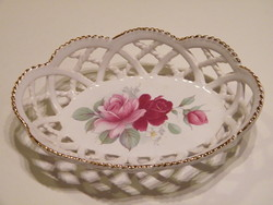 Mystic Blue Hungary áttört szélű porcelán virágos tálka