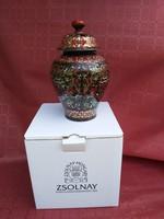 Kuriózum! Zsolnay többtüzű szecessziós fedeles eozin stúdióváza, gyűjtőknek, egyedi, hibátlan darab