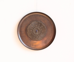 Retro copper / bronze wall plate, wall decoration - serious craftsman ornament with enamel ornament
