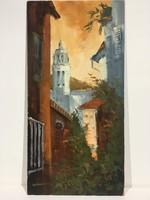 István Károlyi: Mediterranean cityscape, oil painting