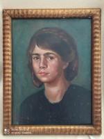 Gábor móricz: girl portrait flawless oil painting in beautiful frame 48 x 38 cm