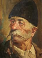 Jenő Kasznár ring (1875-): old man smoking a pipe