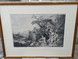 Boucher: bird's nest - le nid - French engraving