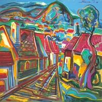 István Kozma - quarry 90 x 90 cm oil on canvas