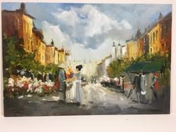 István Károlyi: street life, oil painting