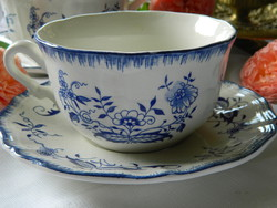 Antique lancaster sarreguemines 1 large faience cup and small plate with blue onion pattern