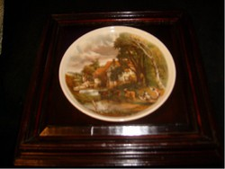 E24 antique porcelain picture famous painting based on baroque wooden frame by john constable based on 25 x 25 cm