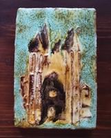 Jelzett mázas kerámia falikép