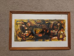 Painting, mixed media, abstract, size indicated!