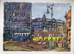 Liberation square, mercenary gauze, marked retro print, glazed frame