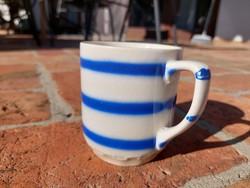 Retro blue striped granite mug, undamaged collectible piece, marked, numbered