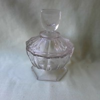 Retro, crystal, transparent glass bonbonier, sugar bowl