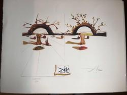"""SALVADOR DALI """"Férfi és Nő"""" Egy kiüresedett világban nagy méretű litográfia-1970-  mérete:79 x 62 cm"""