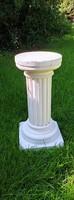 Garden pedestal, plaster concrete sculpture holder, flower holder