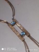 Aquamarine stone silver necklace