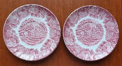 Wood & sons English scene with burgundy porcelain saucer