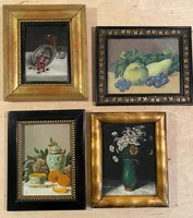 4 pieces of antique painting László Ferenczy still life together