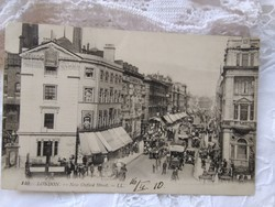 Antique English postcard / greeting card london, oxford street 1910, cars, passersby, buildings