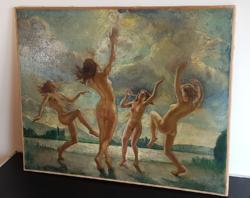"""""""Napimádók"""" - gyönyörű antik festmény"""