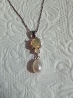 Ethiopian fire opal pearl 925 silver pendant