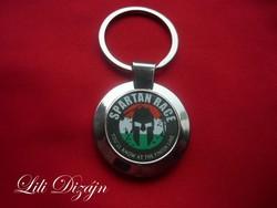 Spartan race metal keychain