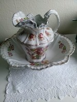 Set of large hollow English porcelain washing jugs with lavender