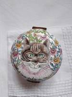 Vintage hand painted enameled copper box with jewelry kitten / cat with floral motif