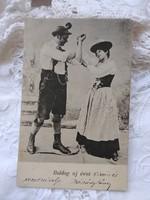 Antique New Year postcard / photo card in a pair of Austrian folk costumes circa 1900