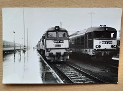 Photograph of two old locomotives