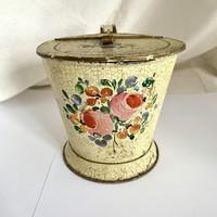 Antik festett kis fémedény, csupor, kanna, bödön paraszti művészet