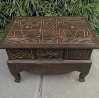 Native american handicraft hand carved wood table with drawers in small dresser salon table