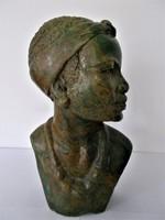 Álomszép, zimbabwei Shona, kézzel készült kőszobor, női büszt, verditből