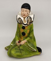 French hand painted pierrot art deco comedy sculpture figurine