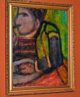 Jelzés nélküli festmény, olaj karton, kerettel 40 x 32 cm, repedezett felület