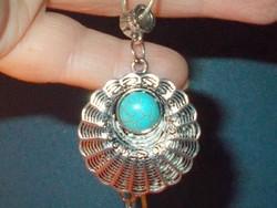 Turquoise-turquoise stone amulet Tibetan silver necklace