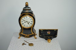 Decorative antique French boulle style clock with wall bracket, key and pendulum