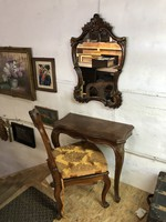 Viennese baroque, neo-baroque console table, mirror, chair, dressing set