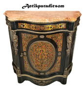 A403 beautiful antique boulle marble chest of drawers
