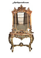 A408 beautiful Italian gilded baroque console table with mirror