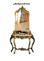 A410 beautiful Italian gilded baroque marble console table with mirror