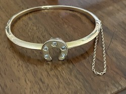 About 1 forint! Antique 14 carat gold bracelet 20.2 grams, approx. 0.5 Carat with old polished glasses!