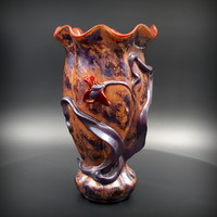 Zsolnay multicolor eosin blue leaf vase