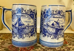 # 2 Delft hand painted beer mugs