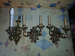 3 Pieces of antique wooden wall sconce to be renovated