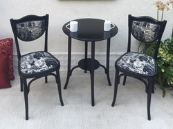Upholstered thonet chairs and tables
