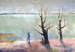István Dienes (1905 - 1977) on the shores of Lake Balaton
