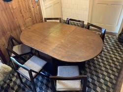 Folding retro dining table with 6 chairs