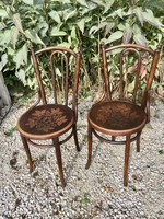 2 pcs thonet chairs with rare patterned seat.