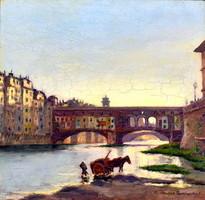 Sándor Teplánszky (1886 - 1944): Firenze ponte vecchio 1924!