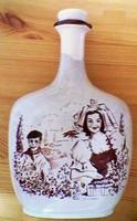 Ceramic liqueur bottle .. Cranberry harvest scene from Germany.